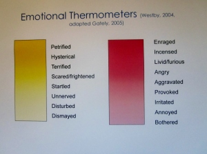 Relating shades of color to more/less emotional words, enhances understanding.