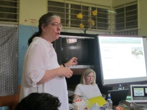 Dr. Joanne Nichols, professor at Fitchburg State University makes an important point listening and speaking in the classroom to over 60 kindergarten teachers in Antigua.